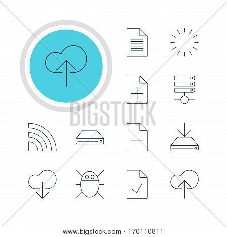 Vector Illustration Of 12 Web Icons. Editable Pack Of Checked Note, Information Load, Removing File And Other Elements.