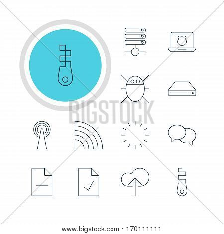 Vector Illustration Of 12 Internet Icons. Editable Pack Of Hard Drive Disk, Removing File, Computer Virus And Other Elements.