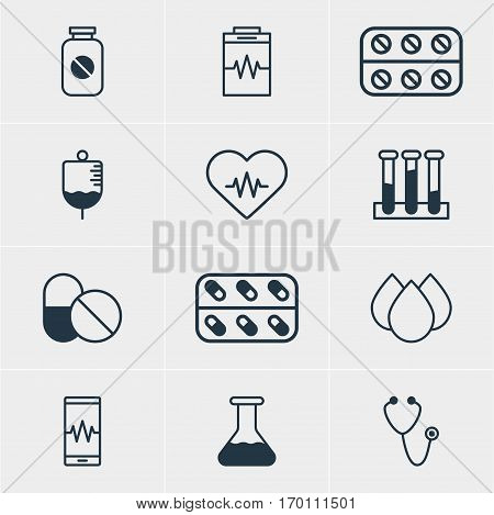 Vector Illustration Of 12 Medical Icons. Editable Pack Of Pulse, Antibody, Flask And Other Elements.