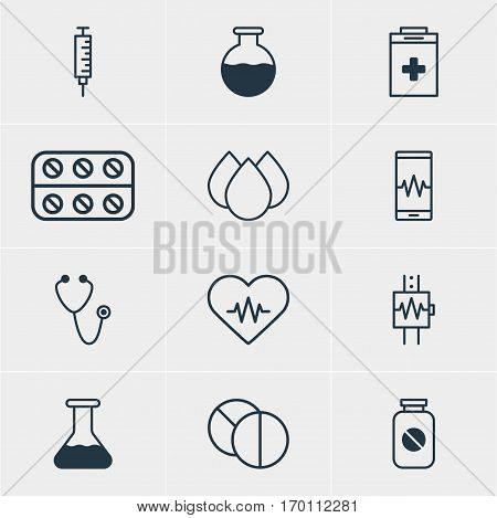 Vector Illustration Of 12 Health Icons. Editable Pack Of Vaccinator, Phone Monitor, Exigency And Other Elements.