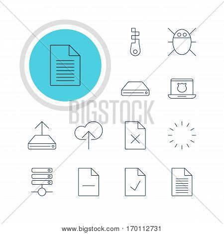 Vector Illustration Of 12 Web Icons. Editable Pack Of Cloud Download, Hard Drive Disk, Fastener And Other Elements.