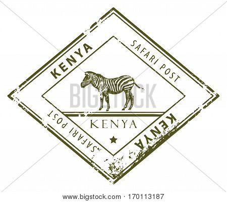 Grunge rubber stamp with word Kenya inside