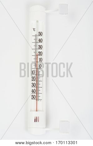 Outdoor thermometer isolated on white. Studio Photo
