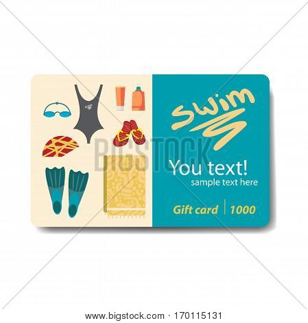 Swimwear and accessories for swimming. Club card or flyer. Sale discount gift card. Branding design for swimming pool.