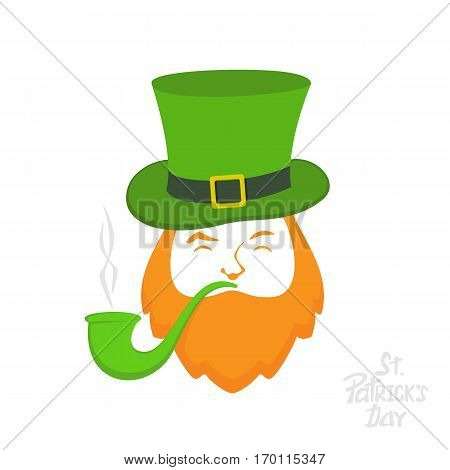 Patrick day icon on white background, leprechaun with green hat and smoking pipe, lettering St. Patrick's Day, illustration.