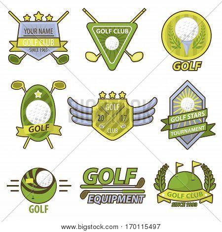 Golf game label set club tournament vector banner. Set of golf club emblems with stars showing their popularity, with inventory and inscriptions. Golf badge logos in round, triangular and oval shapes