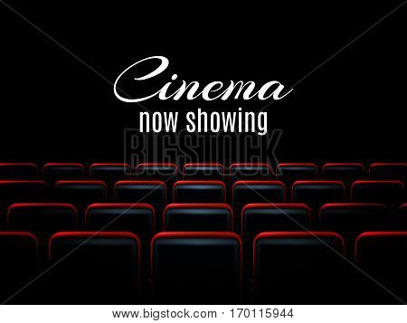 Movie cinema premiere poster design template with red seats. Vector background.