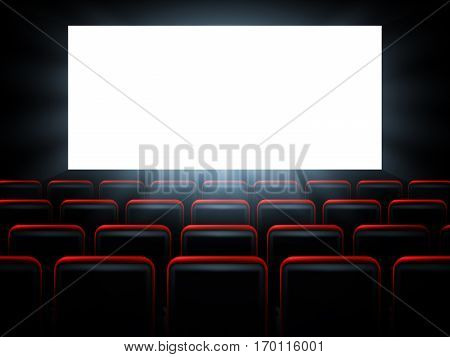 Movie cinema premiere poster design with red seats and white screen. Vector background.