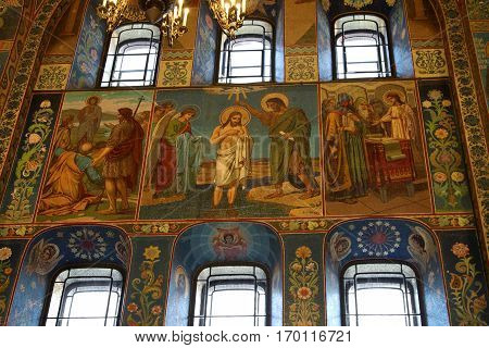 SAINT-PETERSBURG RUSSIA - JANUARY 05 2017: Mosaic wall painting of the Church of the Savior on Blood in Saint-Petersburg
