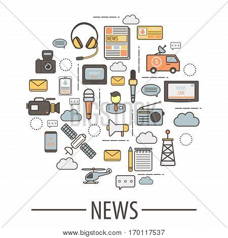 Media icon elements for news collection and translation. Vector logos of means of transportation, black camera, microphones with inscriptions, human silhouette, television screens, pencil and jotter.