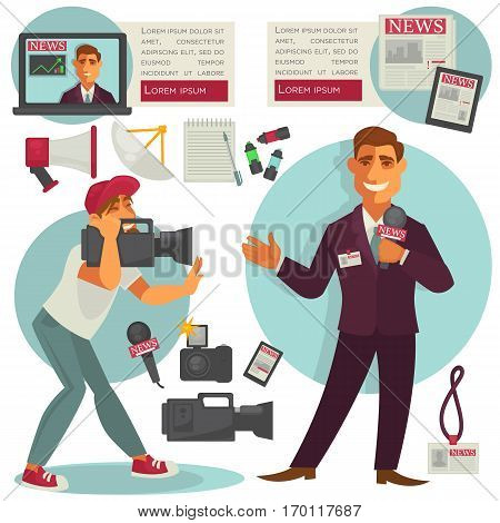 Newscaster or anchorman with microphone in hand and cameraman near. Media an television web vector concept signs of news on paper and in tablet, highlighters with notebook, badge and loudspeaker