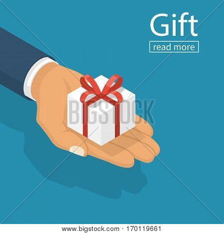 Gift White Box Hand Isometric