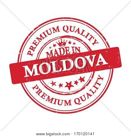Made in Moldova, Premium Quality printable grunge label / stamp. Print colors (CMYK) used