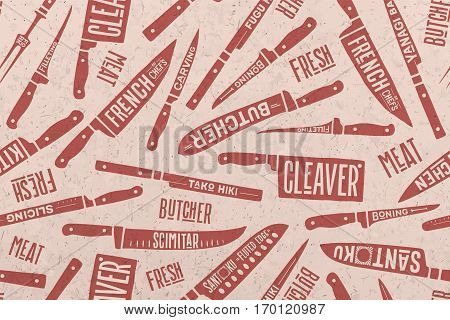 Seamless pattern and background of Meat and Fish cutting knives. Creative graphic pattern with hand drawn illustrations for butcher shop, farmer market. Vintage typographic. Vector illustration