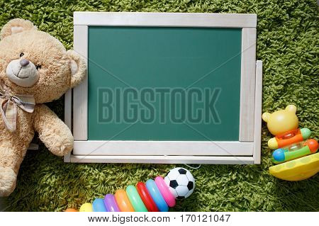 Kids chalkboard. Frame with a copy space. View from above