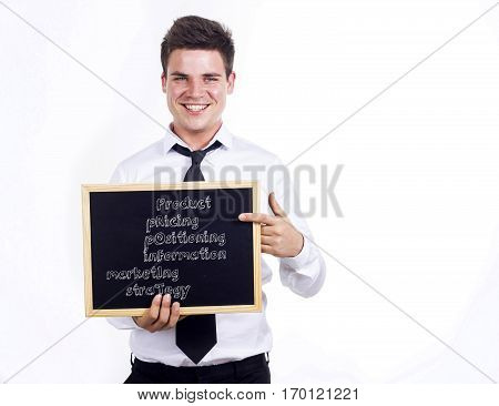 Product Pricing Positioning Information Marketing Strategy Profit - Young Smiling Businessman Holdin