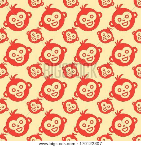 Fun monkey silhouette seamless pattern vector illustration. Traditional horoscope animal design. Zodiac graphic primate nature funny chinese wildlife character.