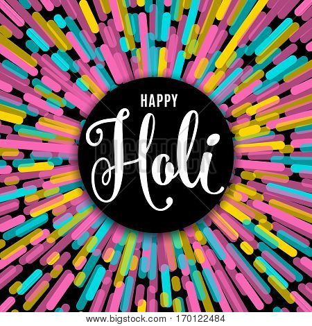 Vector illustration of happy holi festival of colors greeting card with lettering text sign on black round background