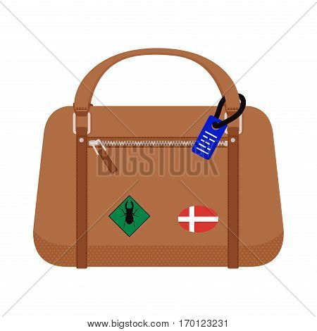 Travel tourism fashion baggage and vacation handle leather big packing briefcase. Voyage destination bag . Journey suitcase departure vector.