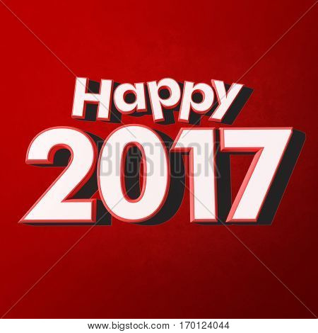 3D rendering of red rimmed white 3D letters on a red background with the message Happy New Year 2017