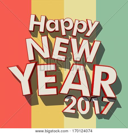3D rendering of red rimmed white 3D letters on a multicolored striped background with the message Happy New Year 2017