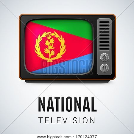 Vintage TV and Flag of Eritrea as Symbol National Television. Tele Receiver with Eritrean flag