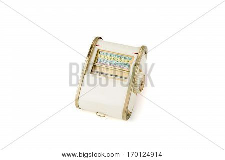 Vintage white light meter isolated on white background. Studio shot. Front View.