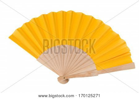 Yellow Open Hand Fan Isolated on a White Background. Top View. Studio shot.
