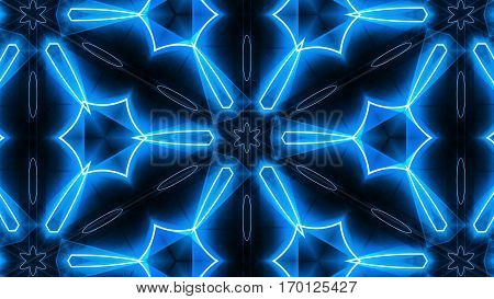 VJ Fractal blue kaleidoscopic background. Seamless loop