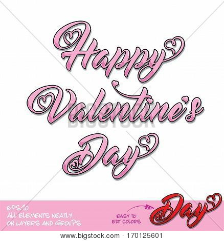 Happy Valentines Day Pink Lettering Center Alignment