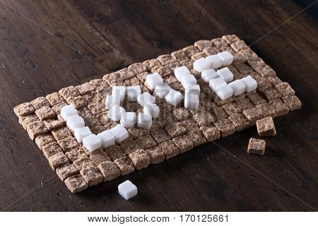 Word Love Made Of Brown And White Sugars
