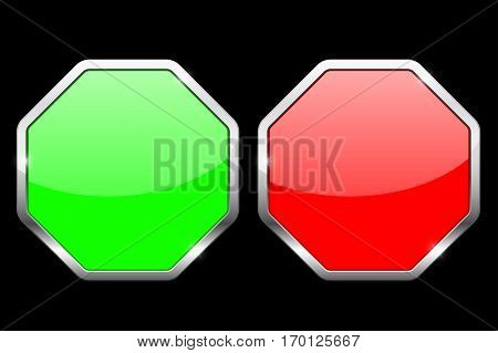 Octagon icons. Green and red icons with chrome frame. Vector illustration on black background