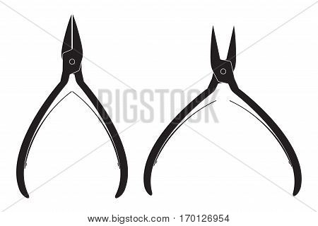 Nail nippers. Vector illustration isolated on white background