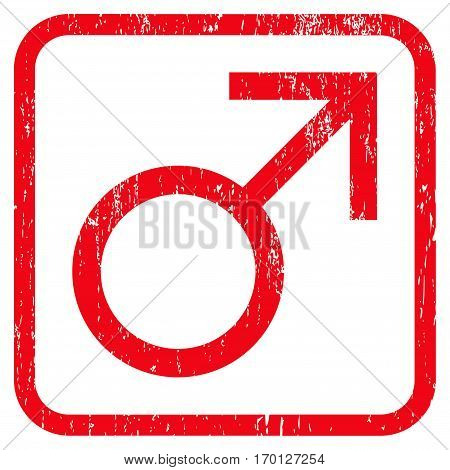 Mars Male Symbol rubber watermark. Vector pictogram symbol inside rounded rectangular frame with grunge design and scratched texture. Stamp seal illustration.