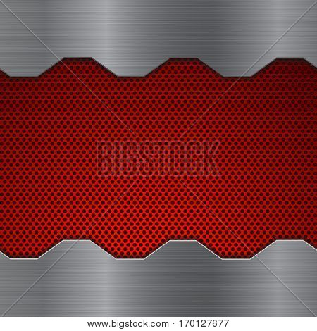 Metal background with waves and red perforation. Vector illustration