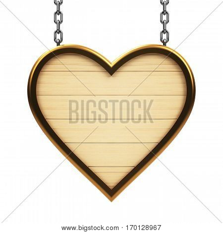 Wooden heart signboard on chain isolated on white background three-dimensional rendering 3D illustration