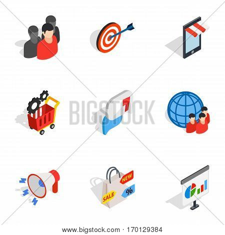 Online shopping icons set. Isometric 3d illustration of 9 online shopping vector icons for web