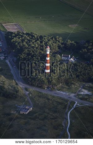 Aerial view of the Ameland Lighthouse known as Bornrif is a lighthouse on the Dutch island Ameland one of the Frisian Islands on the edge of the North Sea The Netherlands
