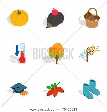 Symbols of autumn icons set. Isometric 3d illustration of 9 symbols of autumn vector icons for web