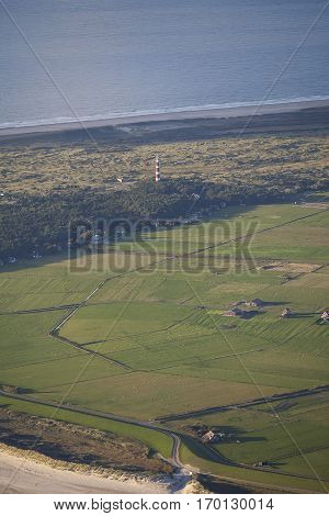 Aerial view of Ameland with its Lighthouse known as Bornrif is a lighthouse on the Dutch island Ameland one of the Frisian Islands on the edge of the North Sea The Netherlands