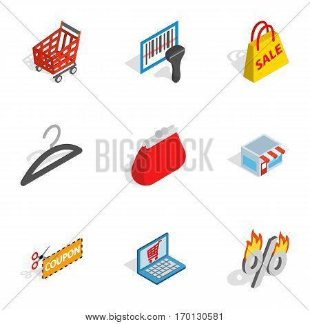 Electronic commerce icons set. Isometric 3d illustration of 9 electronic commerce vector icons for web
