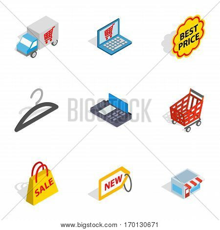 Internet shopping icons set. Isometric 3d illustration of 9 internet shopping vector icons for web