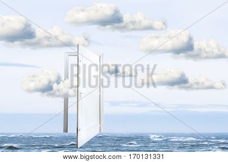 Conceptual surrealistic window open on calm ocean window to freedom