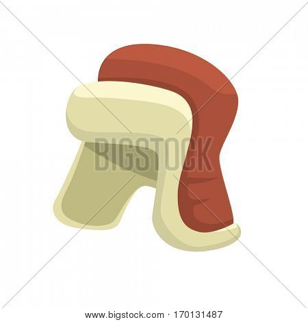 Cartoon winter hat isolated on white background. Vector flat and simple style illustration template for Merry Christmas and Happy New Year art and design. Ushanka or earflaps hat