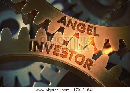 Angel Investor on the Mechanism of Golden Gears with Glow Effect. Angel Investor on Mechanism of Golden Gears. 3D Rendering.
