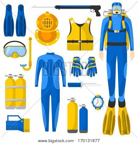 Diving equipment or elements set. Scuba diver man in wetsuit. Aqualung, oxygen cylinders, depth gauge, flashlight, snorkel and mask, flippers, gloves, speargun. Vector Illustration.