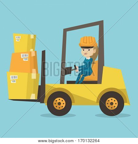 Caucasian warehouse worker loading cardboard boxes. Forklift driver at work in storehouse. Warehouse worker in hard hat driving forklift at warehouse. Vector flat design illustration. Square layout.