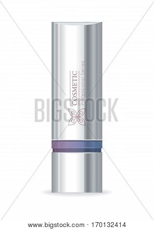 Cosmetic professional series. Silver tube for cosmetics on white background. Product for body, face and skin care, beauty, health, freshness, youth, hygiene. Realistic vector illustration.