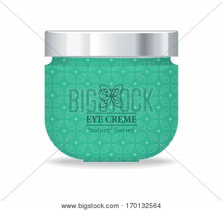 Eye cream natural series. Green plastic tube for cosmetics on white background. Product for body and face care, beauty, health, freshness, youth, hygiene. Realistic vector illustration.