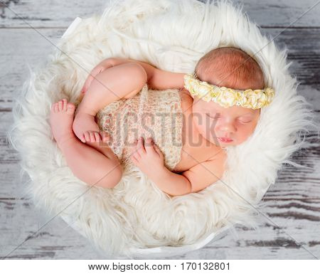 sweet sleeping newborn girl on round bed with fluffy blanket in funy pose